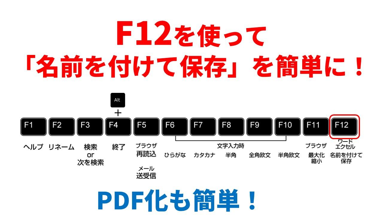 F12を使って 「名前を付けて保存」を簡単に!【PDF化も簡単】